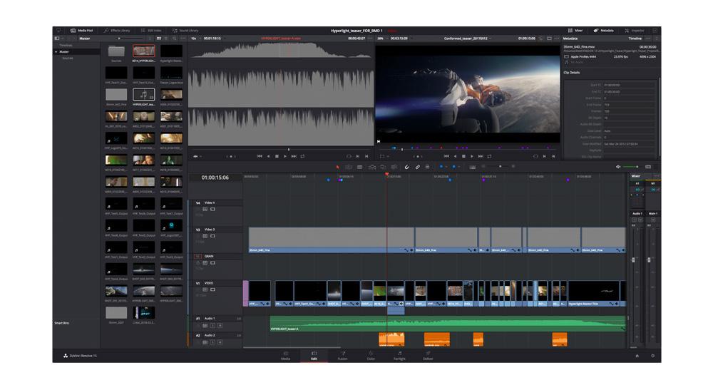 DaVinci Resolve software editing video