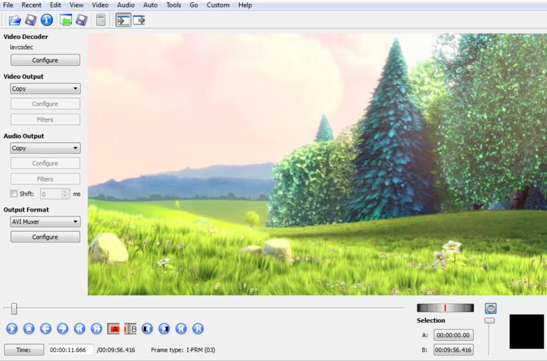 Programma di montaggio video: Avidemux